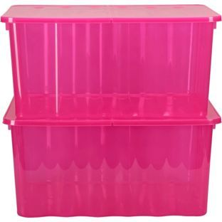 Buy 2 X 48 Litre Pink Plastic Storage Boxes At Argoscouk Your