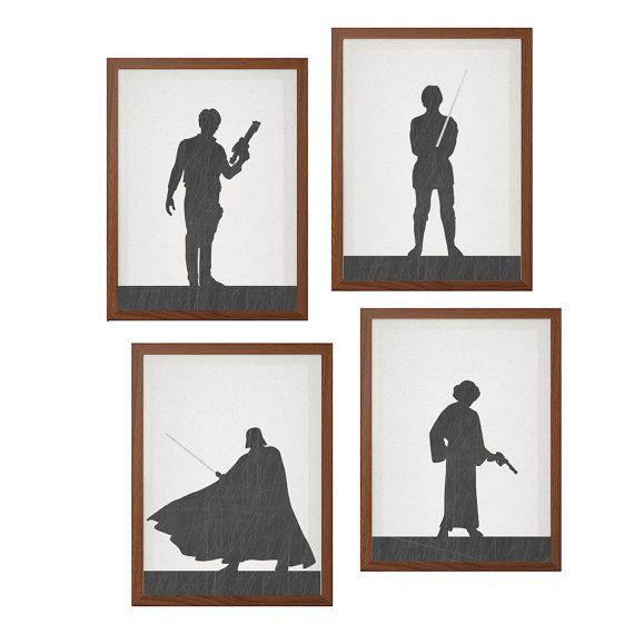 Star wars set of character your choice poster modern illustration retro art also rh au pinterest