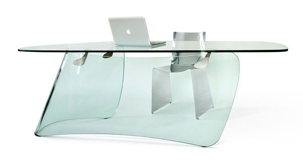 Transparent Graph Table For Bold Office Spaces Glass Table Office Decor Office Desk