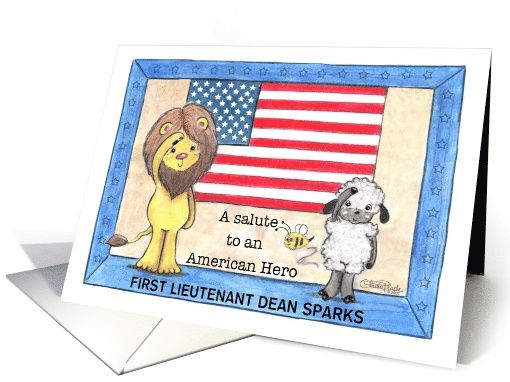 Thank You Military Service/Vet-Salute to American Hero-Lion and Lamb card