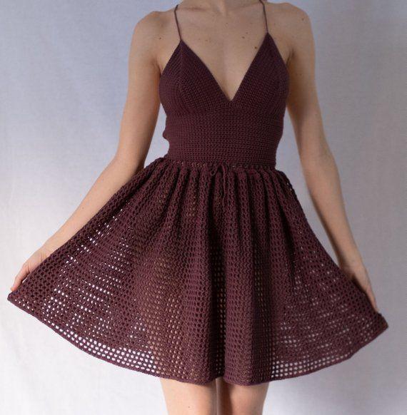 Crochet dress with full skirt PATTERN by @highinfibre #crochetdressoutfits