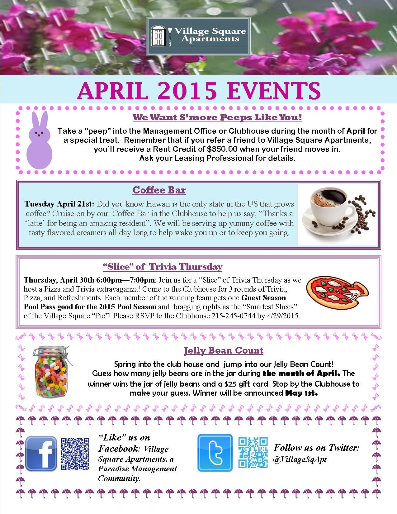 Come Join Us For Our Fabulous Resident Events All Throughout April