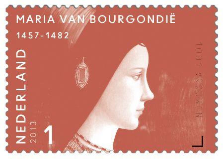 Maria hertogin van Bourgondië, bijgenaamd Maria de Rijke (Brussel 1457 – Brugge 1482). Eerste landsvrouwe van de Nederlanden. Zij erfde in 1477 alle Bourgondische bezittingen, maar dat werd betwist omdat ze vrouw was. Met haar Groot Privilege bracht zij rust in de Nederlandse gewesten. Maria's huwelijk met Maximiliaan van Habsburg bepaalde voor eeuwen de internationale positie van de Nederlanden.     http://collectclub.postnl.nl/pages/detail/s1/10220000001805-2-21010000000080.aspx