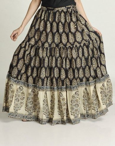 53ec3be7e Cotton Mull Kalamkari Ghera Border Long Skirt by Fabindia; $58