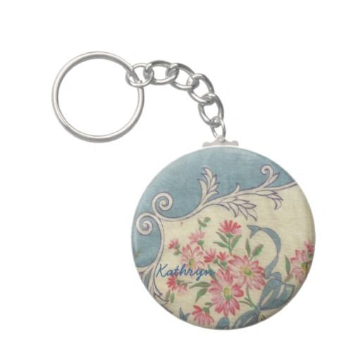 Vintage Handkerchief Keychain - Personalize with your name. Vintage hanky motif.