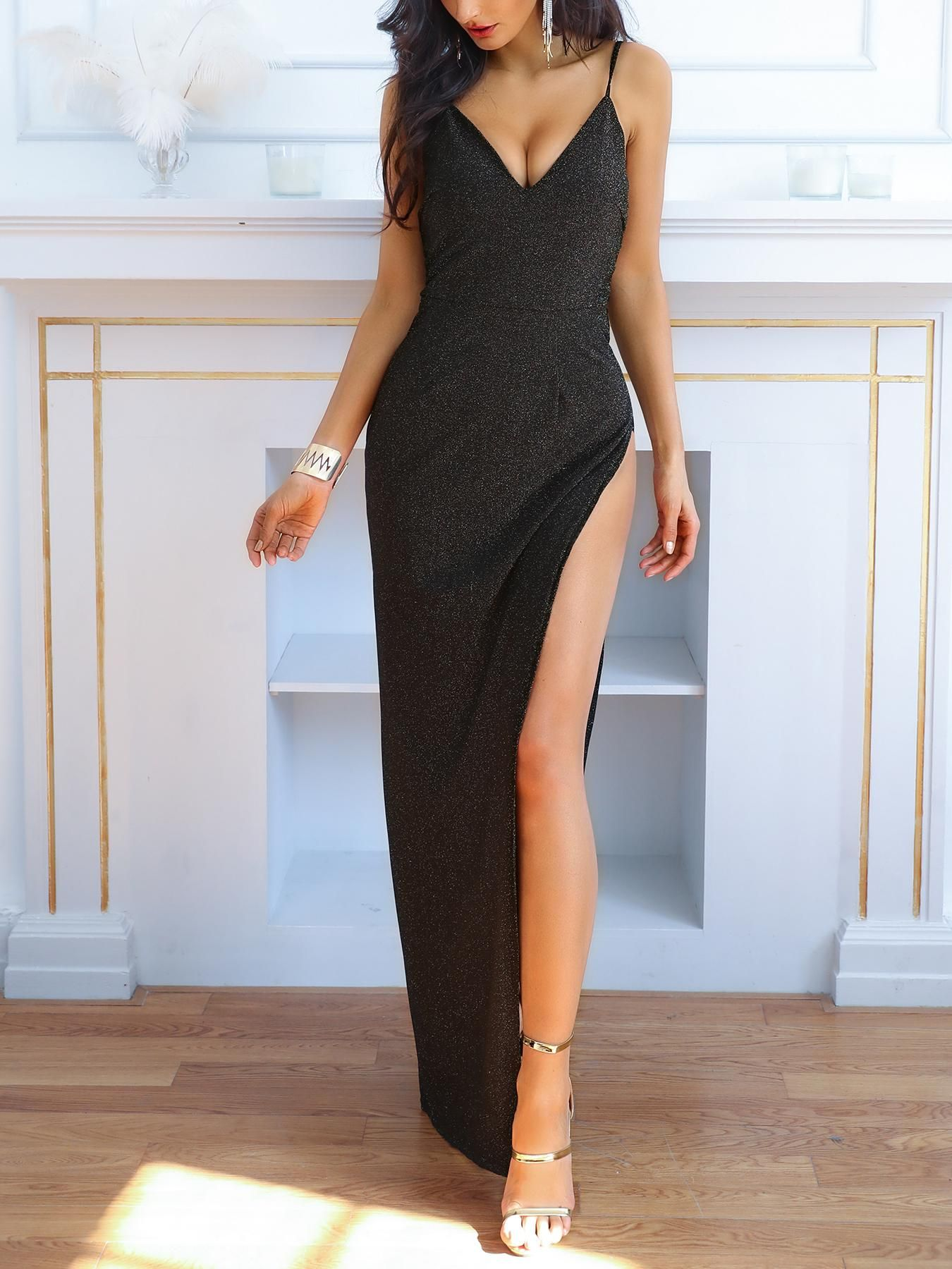 Sexy shiny sequins side high split night gown evening dress dress