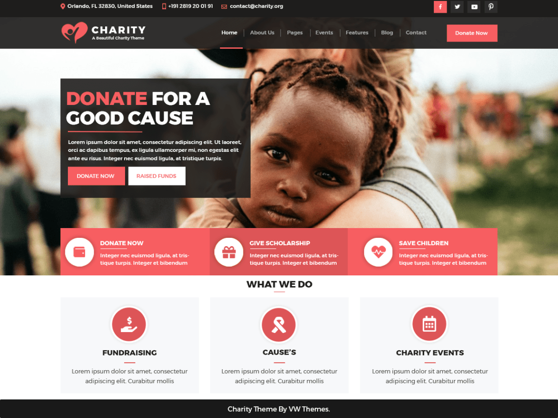 Free Vw Charity Ngo Wordpress Theme Charity Work Ideas Charity Websites Nonprofit Website Design