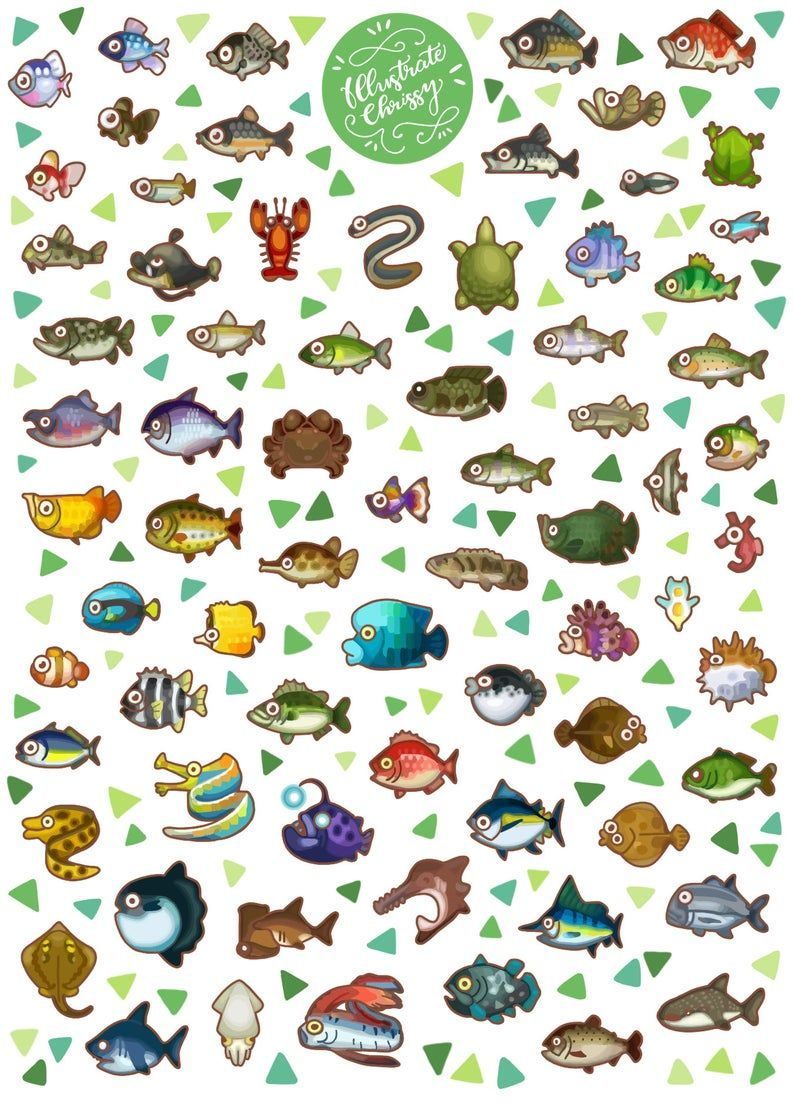 Animal crossing fish bug stickers animal crossing new