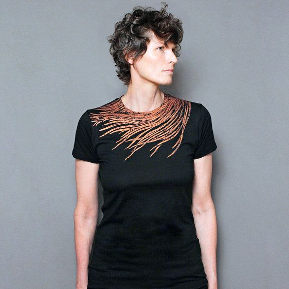57279e098 T shirt for Women, Graphic Tee, Peacock print, Copper Peacock Feather Screen  Print, Rust Shimmer