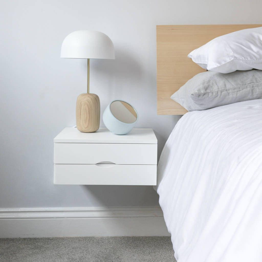 Floating Bedside Table In White With Double Drawer ...