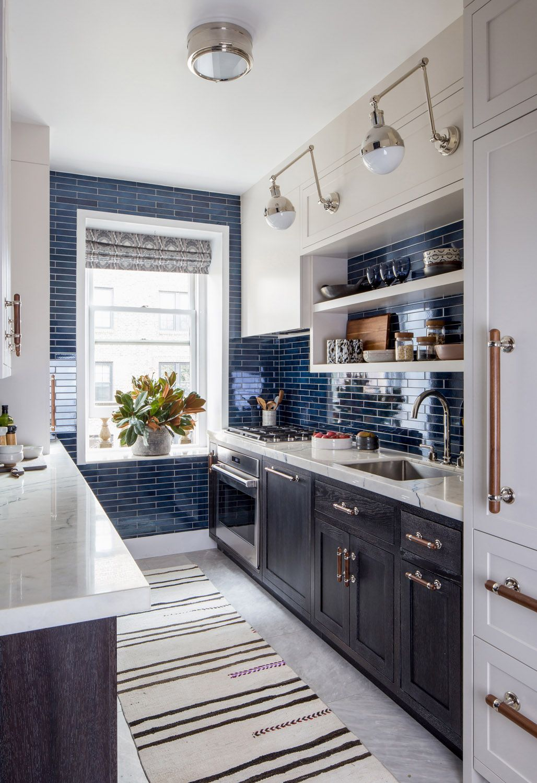 An Architect S Renovation In A Brooklyn Duplex Kitchen Renovation Kitchen Remodel Blue Kitchen Cabinets