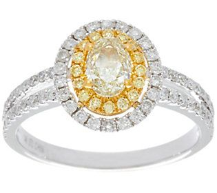 Natural Yellow & White Diamond Ring, 14K Gold, 1.00 cttw, by Affinity