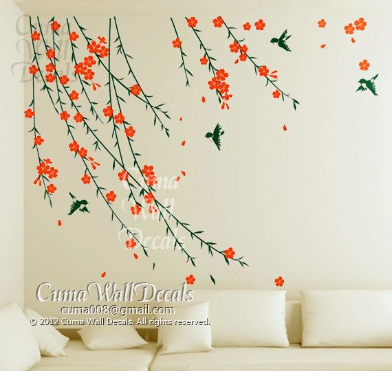Flower Wall Decals Birds Wall Sticker Nursery Mural Children Wall Art  Cherry Blossom Summer Flower Part 52