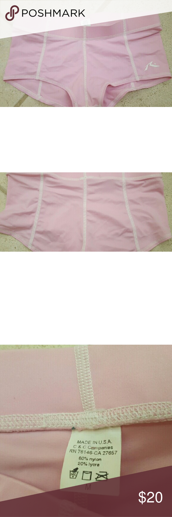 Roxy pink boyshort swim bottoms size M Rusty light pink boyshort swim bottoms,  size medium.  Roxy runs small so probably more like a S in other brands (Im a size 6 and they fit me). Roxy Swim Bikinis
