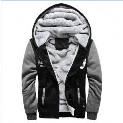 Mens Thicken Sweatshirt,Fashion Patchwork Plus Size Hooded Jacket Winter Warm Fleece Jacket Outwear
