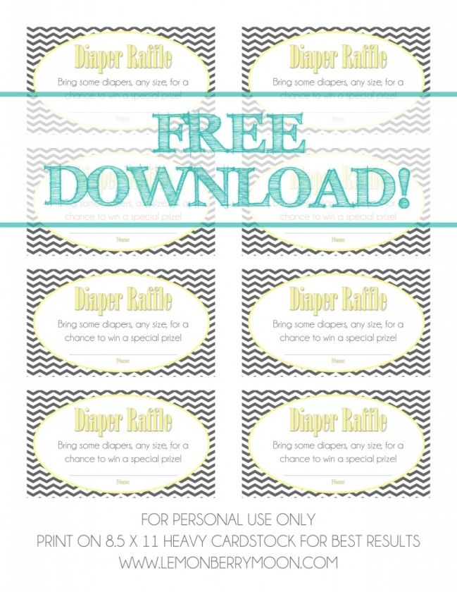 FREE DOWNLOAD Baby Shower Diaper Raffle Tickets – Print Tickets Free Template
