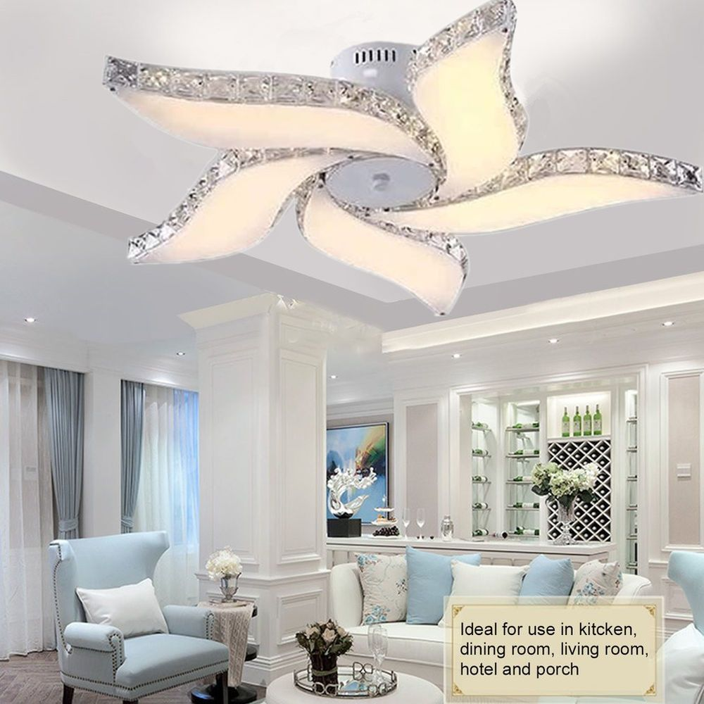 Modern Crystal Flower Chandelier Led Pendant Lamp Ceiling Dining