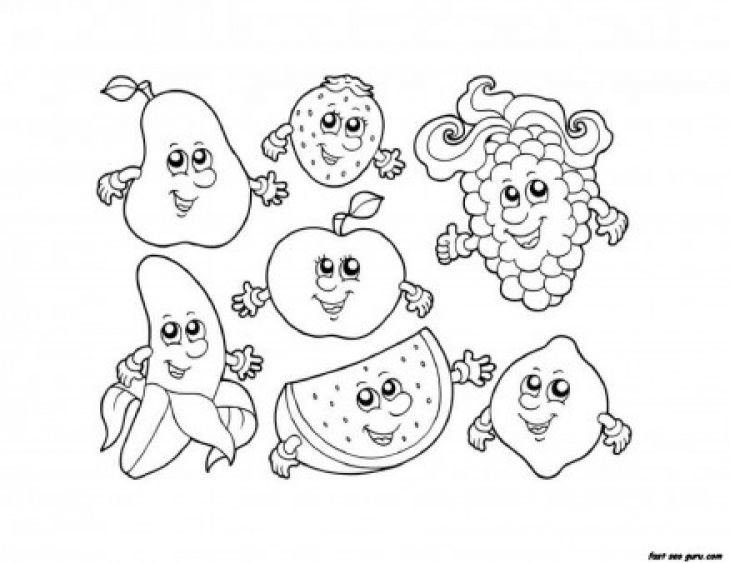 Smiling Fruits Cartoon In Kids Printable Coloring Sheet Letscolorit Com Fruit Coloring Pages Apple Coloring Pages Cartoon Coloring Pages