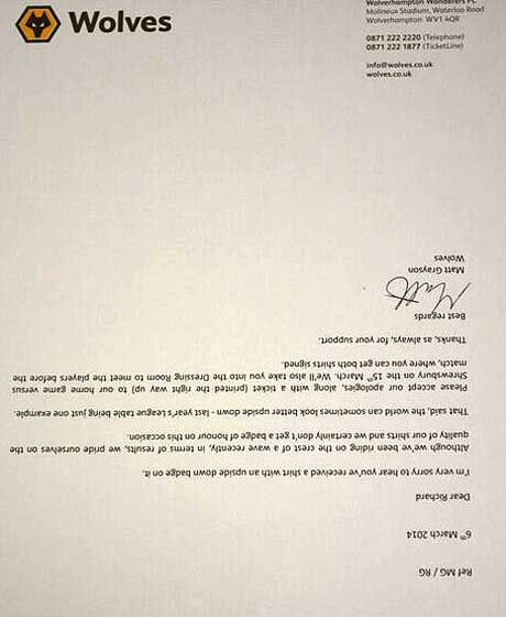 Football club respond to fan complaint with brilliant upside-down - new letter format response complaint