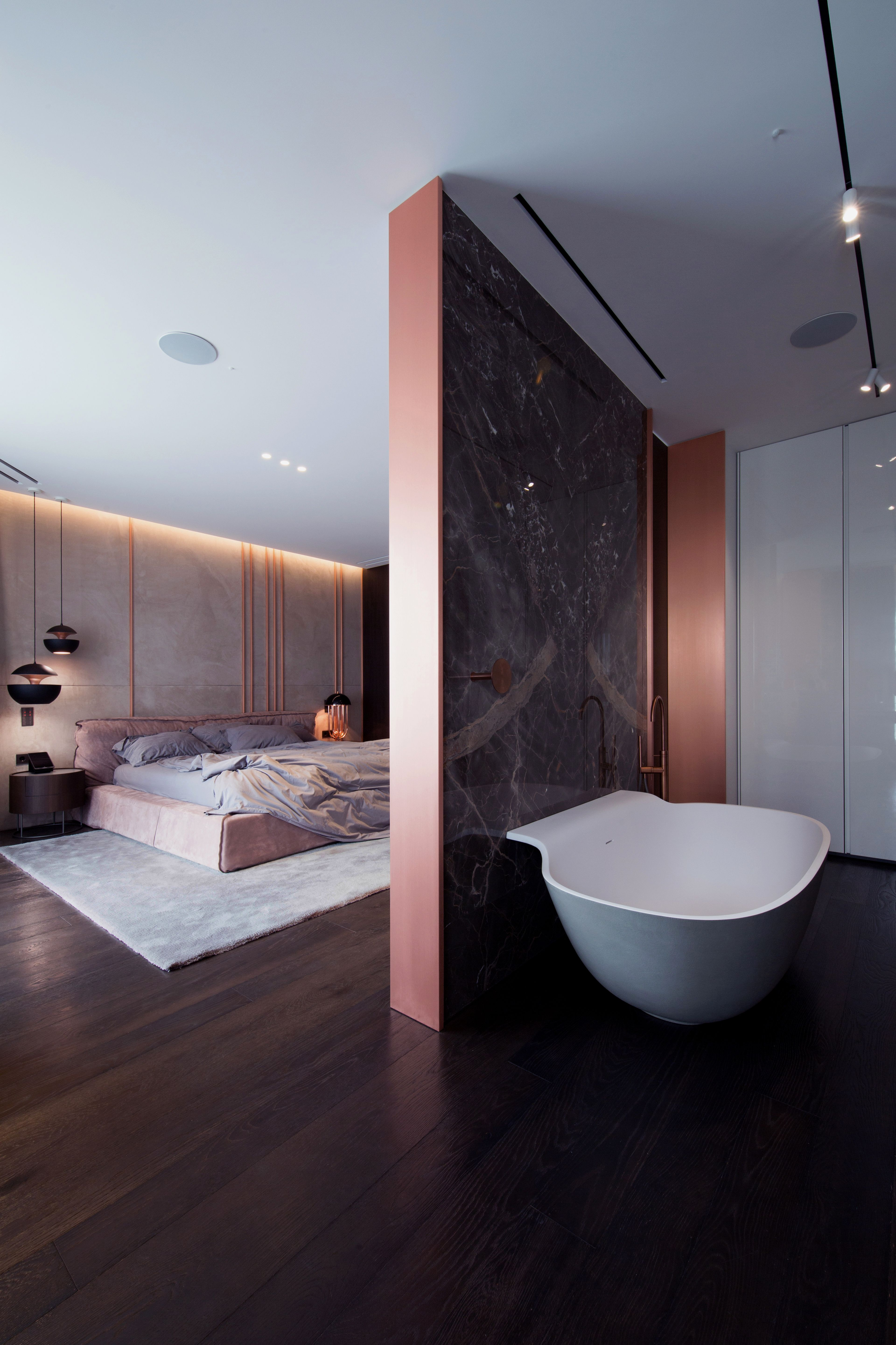 A familys kiev apartment is filled with copper marble and a sophisticated palette dwell