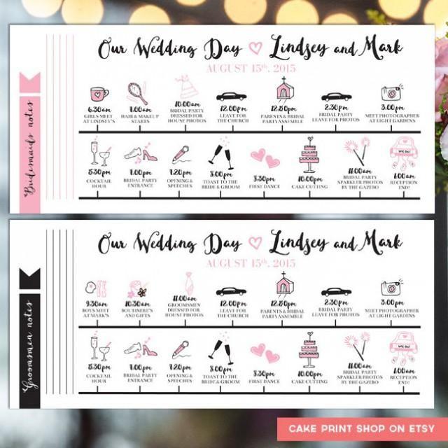 Printable Wedding Itinerary Wedding Day Itinerary Wedding Day