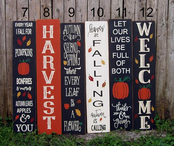 My New Vertical Outdoor Signs Are Making Me Excited For Fall The Sign Is Reversible So You Can Use It Year Round Porch Signs Holiday Signs Painted Wood Signs
