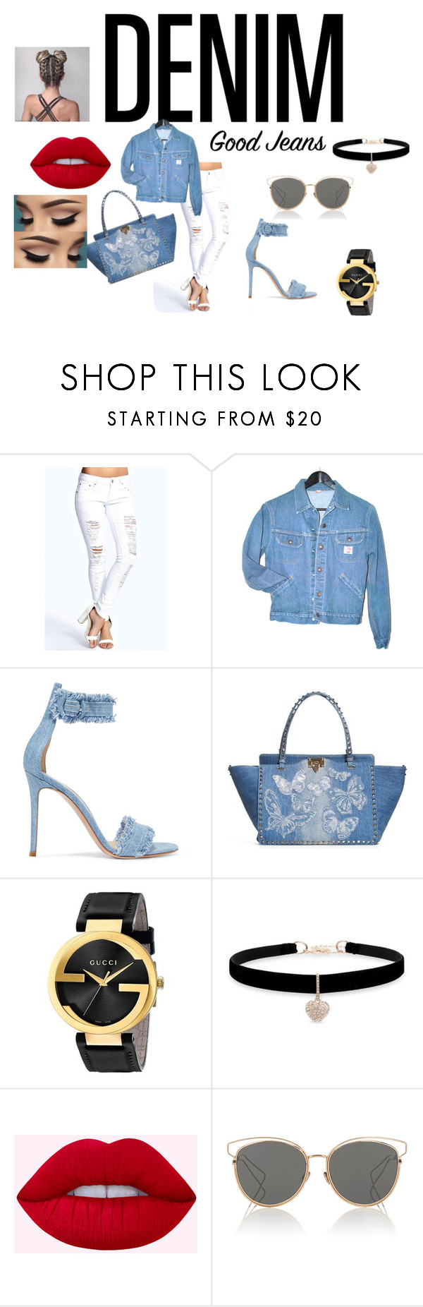 """Denim Paradise"" by bluemoon-shine ❤ liked on Polyvore featuring Boohoo, Gianvito Rossi, Valentino, Gucci, Betsey Johnson, Lime Crime and Christian Dior"