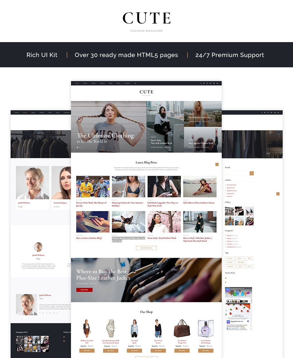 Cute - Fashion Magazine HTML5 Template | New Website Templates ...