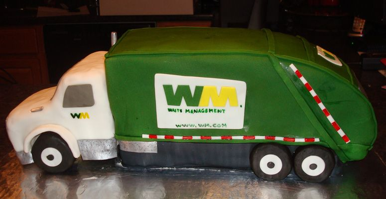 Waste Management Truck With Images Truck Birthday Cakes