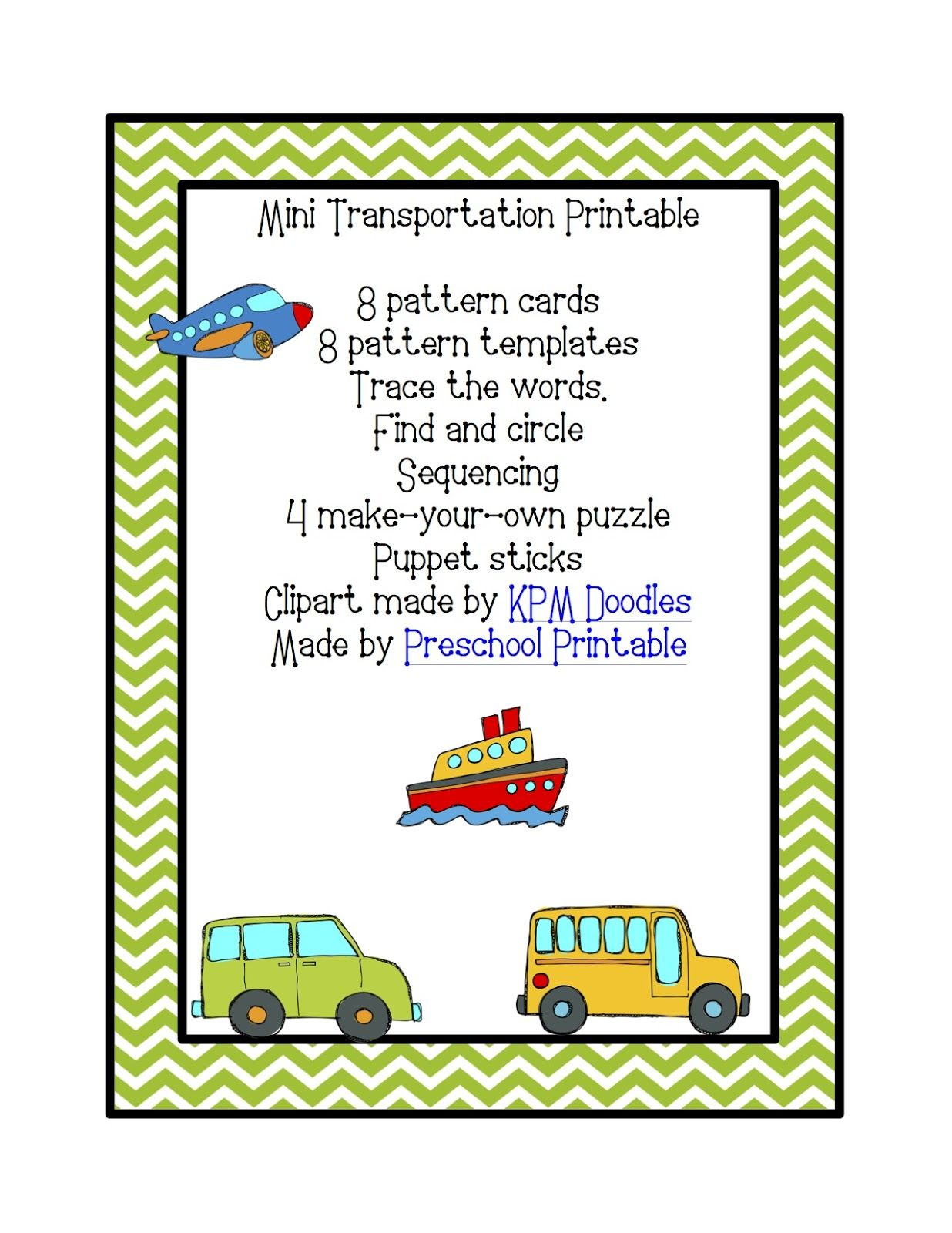 Transportation Printable