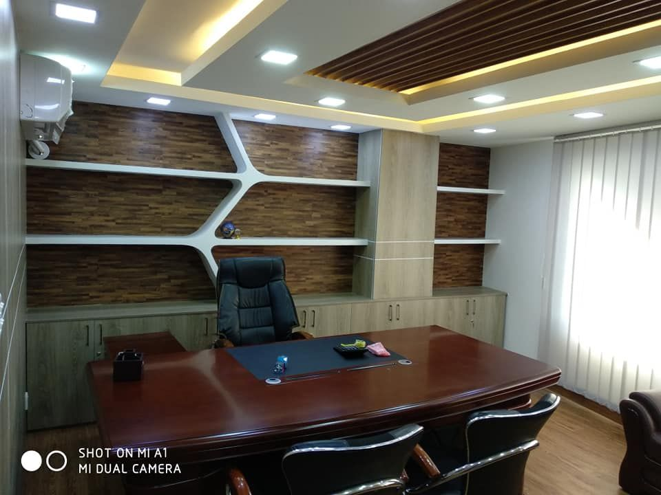 Small Office Interior, MD Room Design, Office Room Interior, Back Panel  Design, Office Ceiling Design, Wall Paneling Ideas.