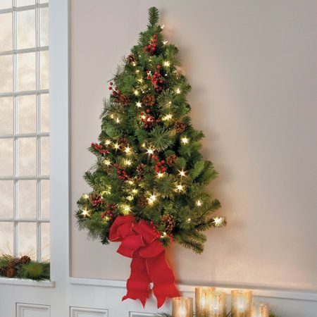 Classic Christmas Pre Lit Wall Tree 3 I Want Improvements Com Takes Batteries Though Not Christmas Wall Hangings Wall Christmas Tree Flat Christmas Tree