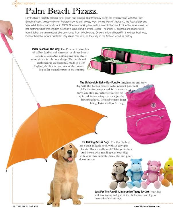The umbrella was featured in the spring issue of THE NEW BARKER. #raincoat #umbrella #dogaccessories #dogclothing #rainorshine