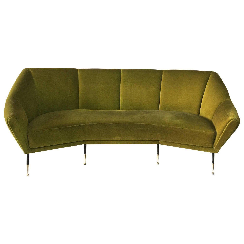 Vintage Green Velvet Geometrical Shaped Italian Sofa Italian Sofa