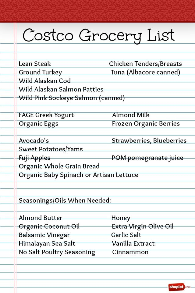 Costco Healthy Food Grocery List-The Brilliant Mom Healthy Fit - grocery list