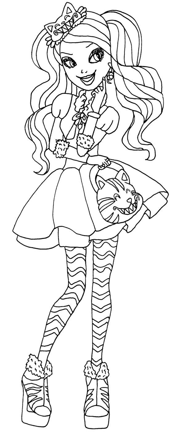 Lizzie hearts coloring page - Kitty Cheshire By Elfkena On Deviantart A Coloring Page Of Kitty Cheshire From Ever After