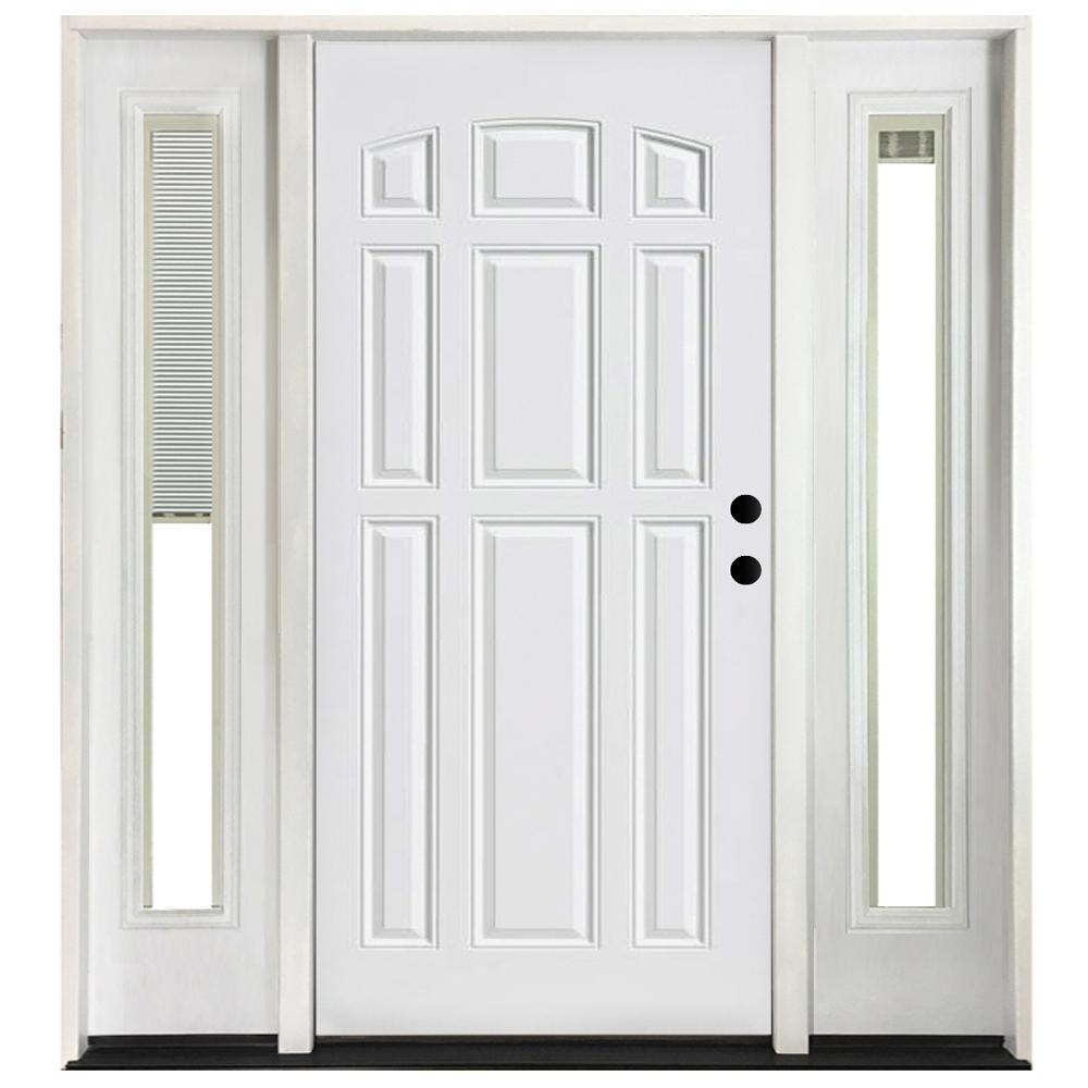 Steves Sons 64 In X 80 In 9 Panel Primed White Left Hand Steel Prehung Front Door With 12 In Mini Blind Sidelites 6 In Wall St90 Pr D12mb R6lh The Home In 2020