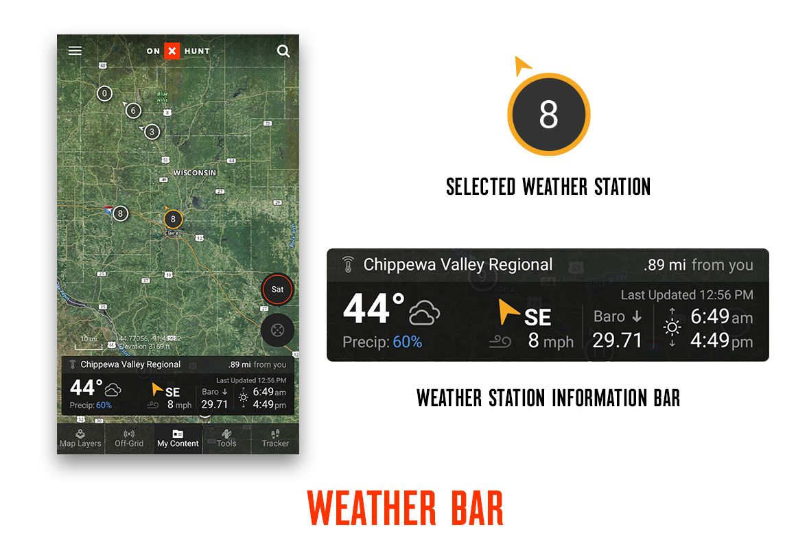 onX Hunt App Wind & Weather feature weather bar screenshot