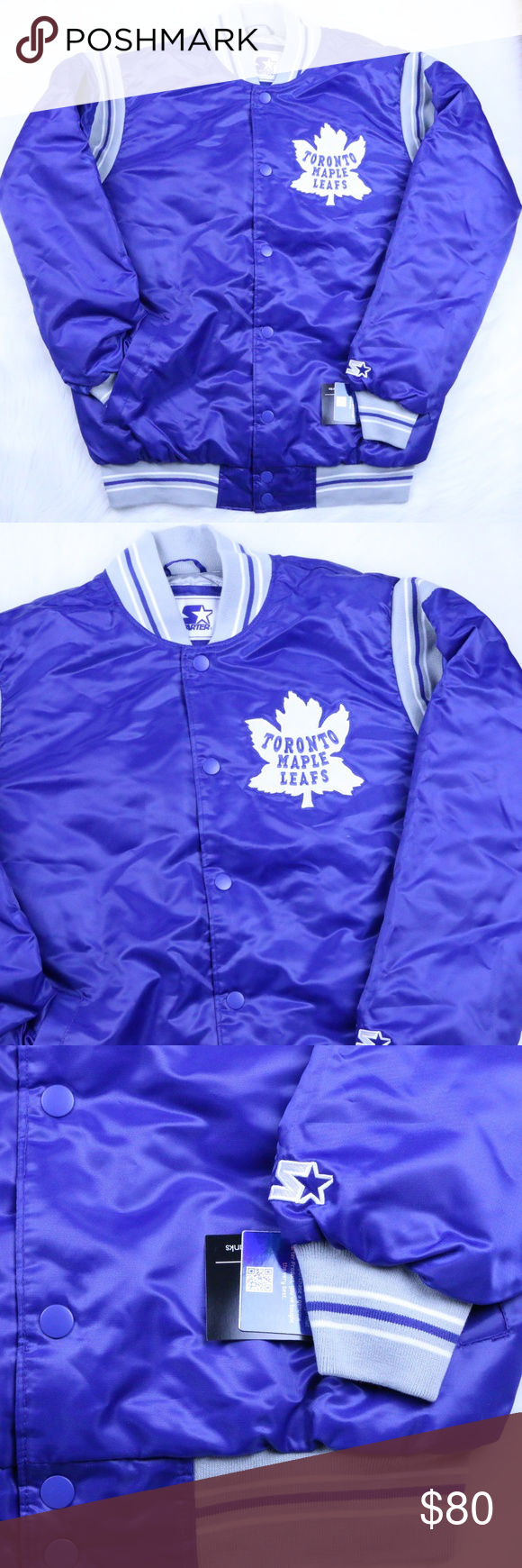 Toronto Maple Leafs Starter Jacket L Toronto Maple Leafs Starter Retro Satin Winter Jacket Blue Men S L Nhl Nwt Leather Jacket Men Winter Jacket Men Jackets