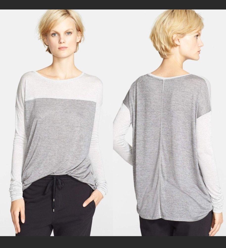48a55baef2 VINCE Women s Long Sleeve Tee Shirt Shimmer Metallic Gray Colorblock Top XS   Vince  KnitTop  Casual