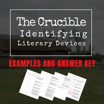 The Crucible Identifying Literary Devices Ela High School
