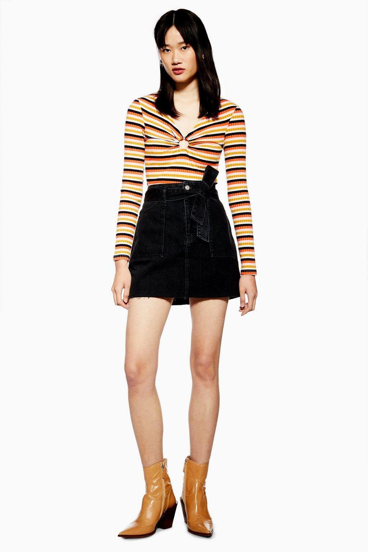 4aa9f34071 Belted Utility Denim Skirt in 2019 | TopShop | Denim skirt, Denim ...