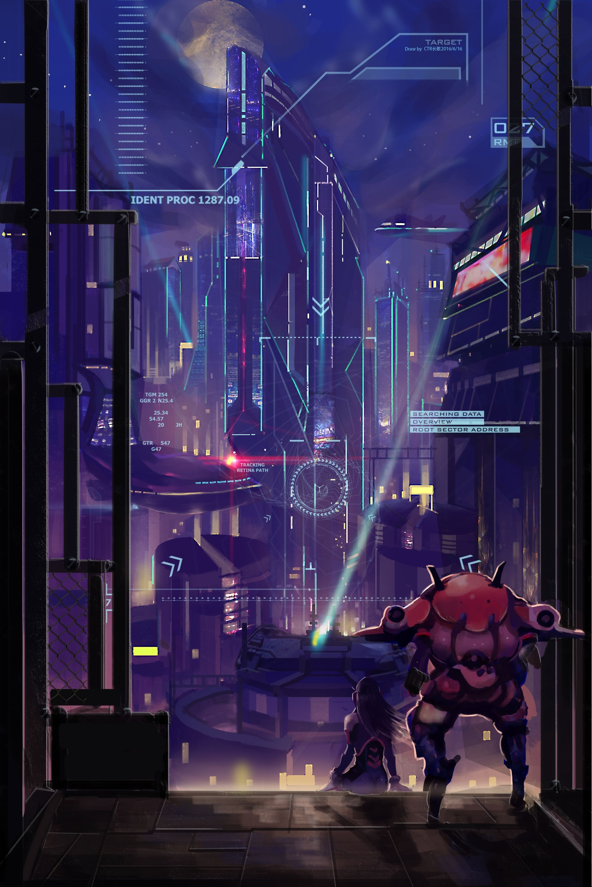 Overwatch D Va Futuristic City Artwork Back View Sci