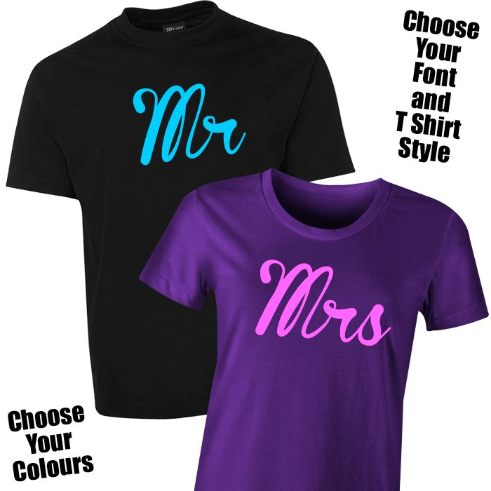 Gifts For Pre Wedding Bride: Mr & Mrs T Shirt Set For The Bride & Groom The Mr & Mrs T