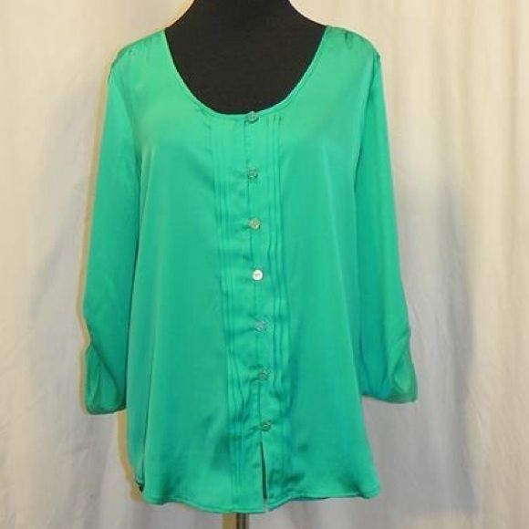 New York & Company Blouse Green button up blouse with gold buttons. Has adjustable sleeves & pleating down the front. 100% Polyester New York & Company Tops Blouses