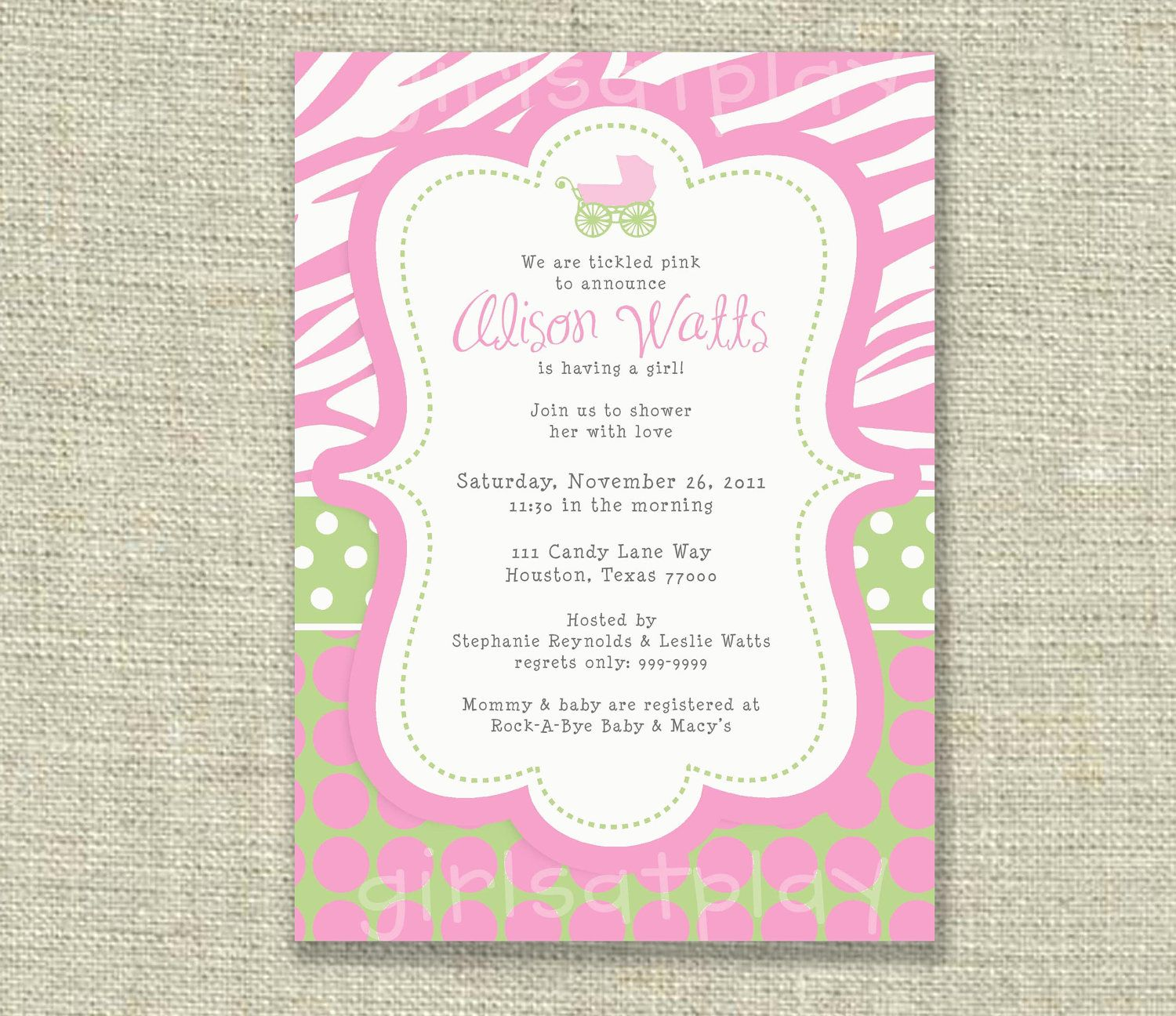 Baby Girl Shower Invitation Baby boy Buggy Pink Blue Dots ...