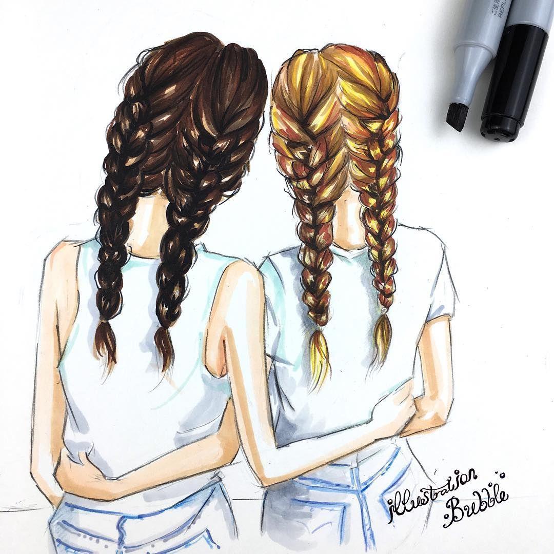 Illustration Hair Ideas Bff Colours Drawings Fiends Drawings Of Friends Best Friend Drawings Friend Cartoon