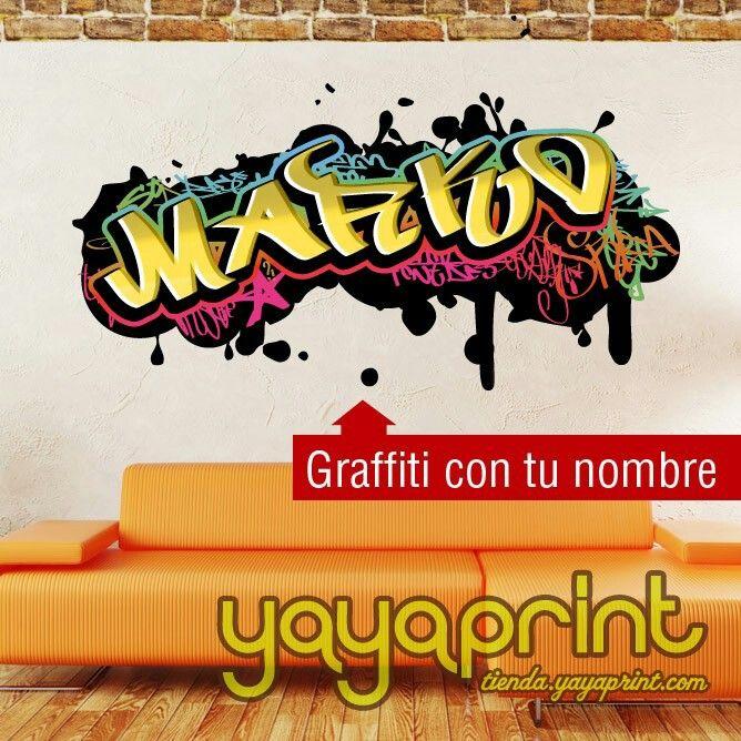 Pegatinas personalizadas para pared con nombre de grafiti personalizadas a todo color pegatinas de transferencia de impresi/ón para habitaci/ón de ni/ños y ni/ñas WSDPGN127