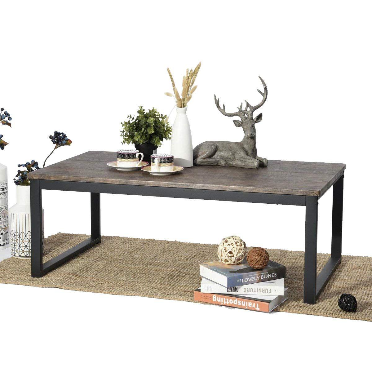 Aingoo Couchtisch Wohnzimmertisch Sofatisch Esstisch Beistelltisch Holze Tischplatte Metallgestell Braun 11 In 2020 Wohnzimmertische Couchtisch Vintage Ikea Couchtisch