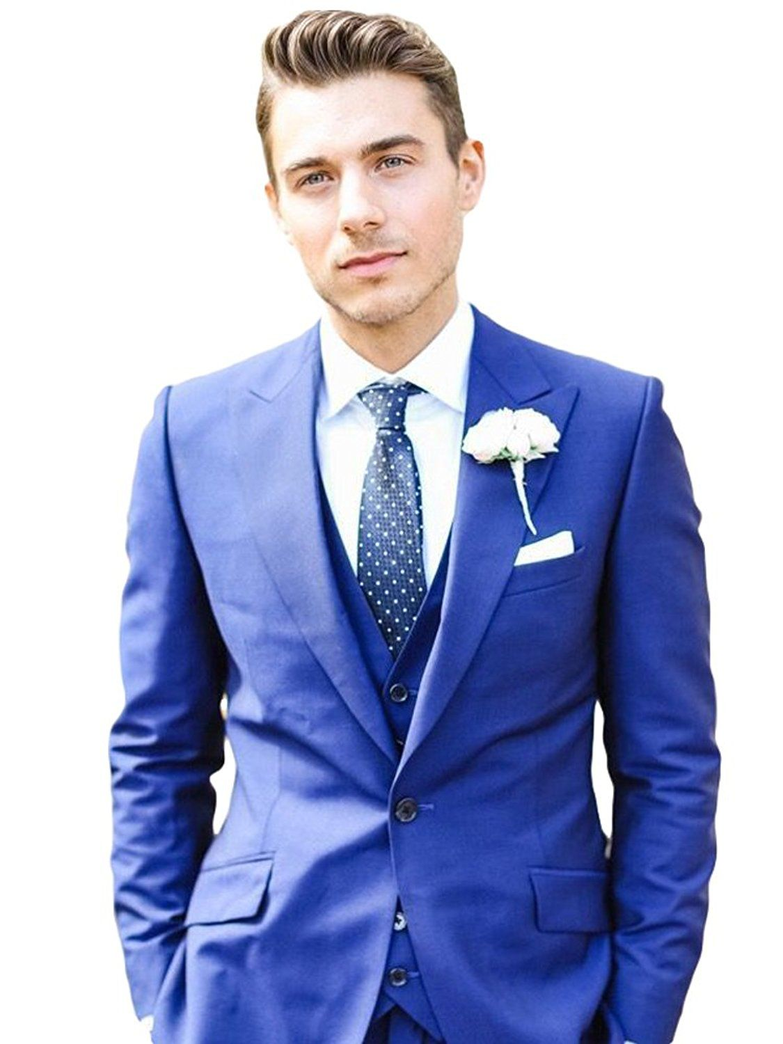 85840aa40f Amazon.com: Botong Royal Blue One Button Wedding Suits 3 Pieces Men Suit  Groom Suit: Clothing